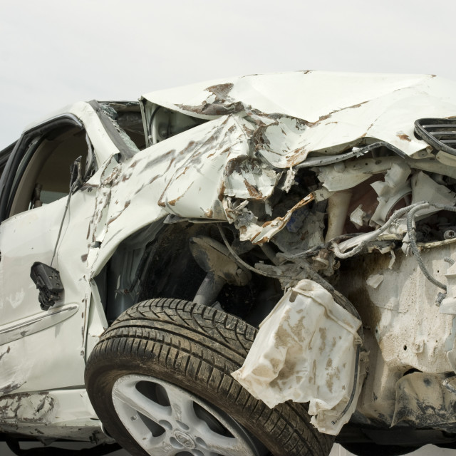 """Remains of a crashed car"" stock image"