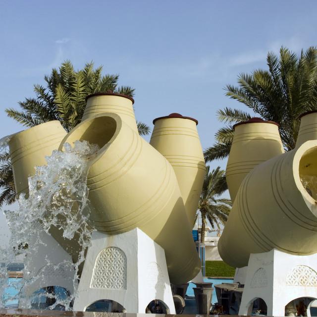 """Doha water pot fountain"" stock image"