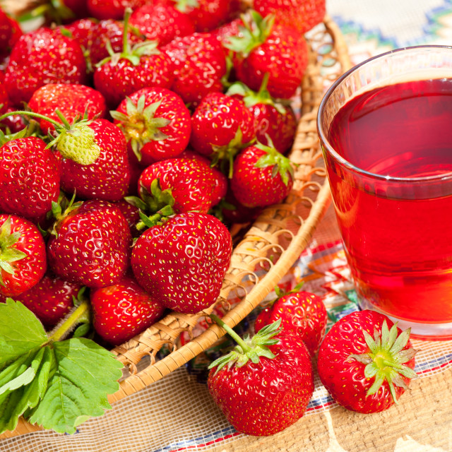 """strawberries in basket and compote"" stock image"