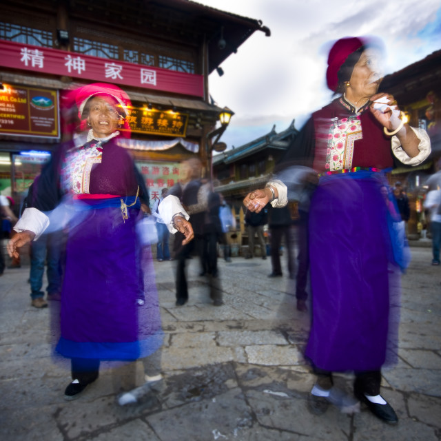 """Women Dancing in Shangri La, China"" stock image"