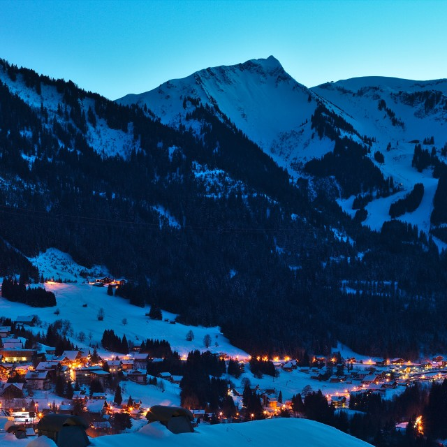 """Mountain village at night"" stock image"