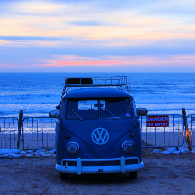 """'V Dub at Sunset'"" stock image"