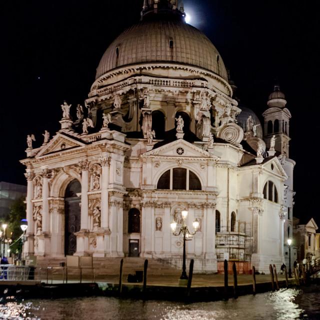 """Santa Maria della Salute at night"" stock image"