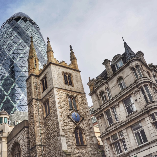 """Undershaft and the Gherkin"" stock image"