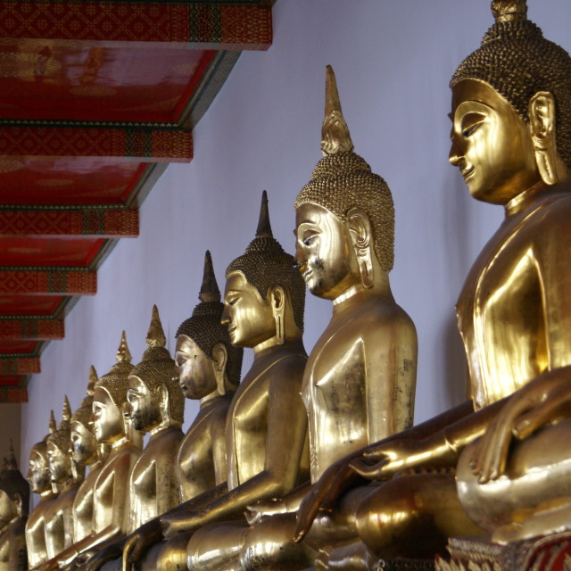 """Golden Statues Thailand Palace"" stock image"