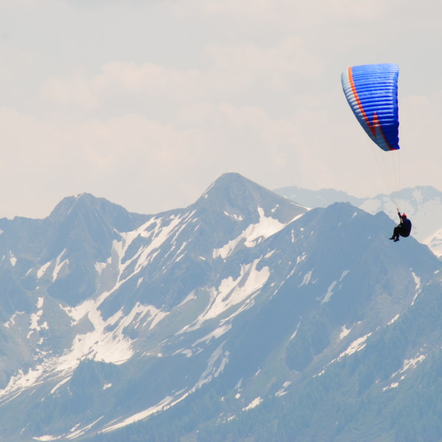 """Paragliding in the Alps"" stock image"