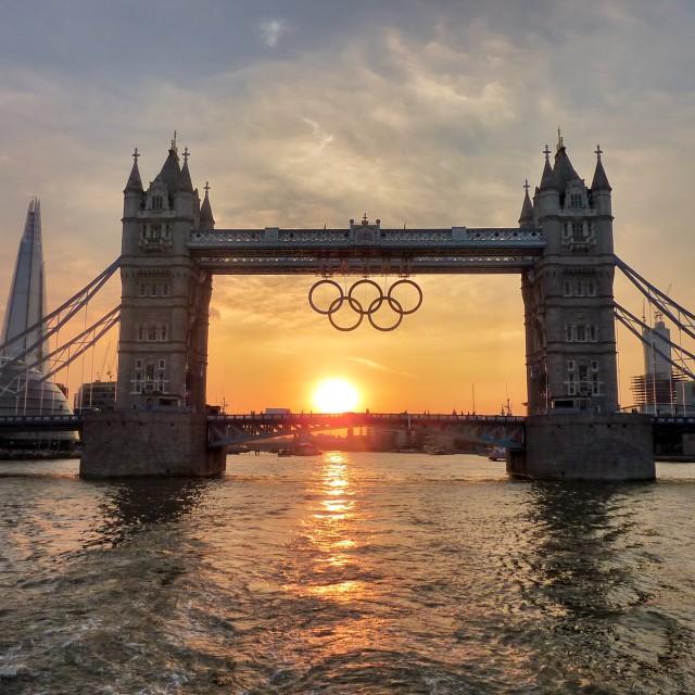 """Tower Bridge sporting Olympic rings"" stock image"