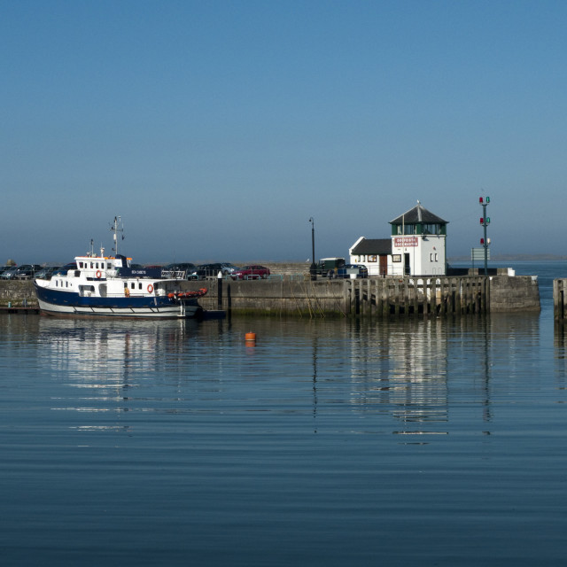 """Caernarfon Harbour, early morning. Wales."" stock image"