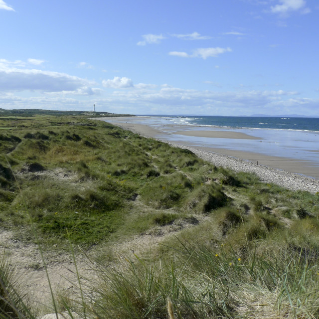 """Lossiemouth, sand dunes on the beach."" stock image"