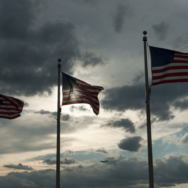 """Washington Memorial's USA Flags, WV"" stock image"