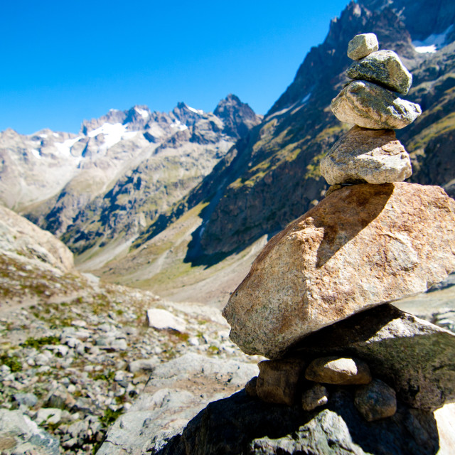 """Cairn in Ecrins National Park,French Alps"" stock image"