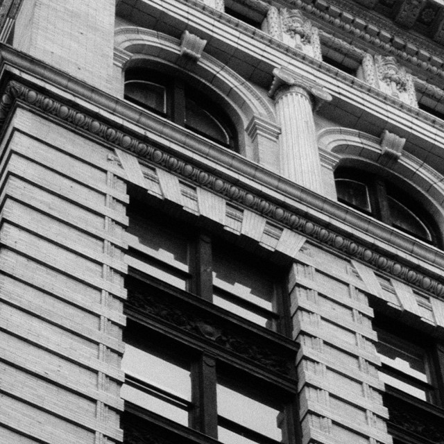 """Ornate architecture on downtown building, Manhattan, NY"" stock image"