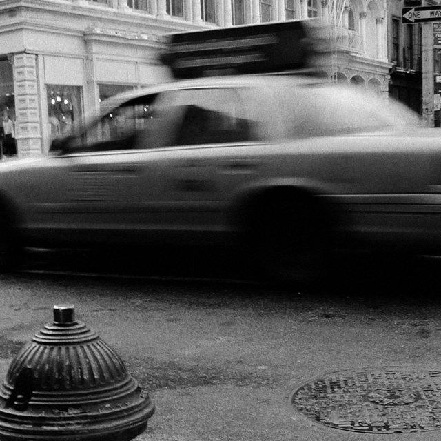 """""""Taxi Blur, NYC (B&W)"""" stock image"""