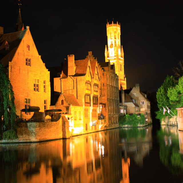 """Bruges at night"" stock image"