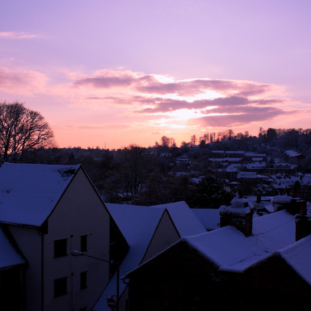 """snowy sunset"" stock image"