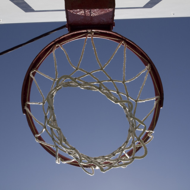 """Basketball net on the blue sky"" stock image"