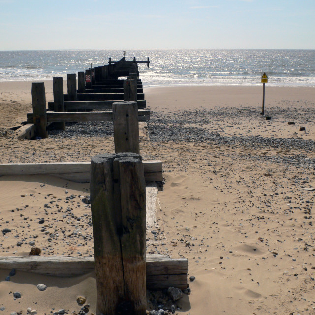 """Wooden groyne on the beach, Lowestoft"" stock image"