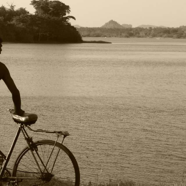 """Sri Lanka - cyclist @ Tissa lake"" stock image"