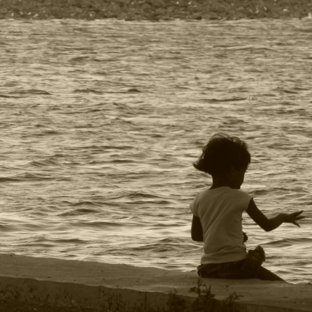 """Sri Lanka - Little girl playing@Tissa Lake"" stock image"