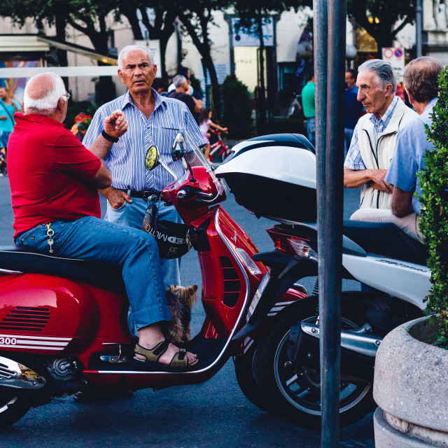 """Chatting locals in Sorrento"" stock image"