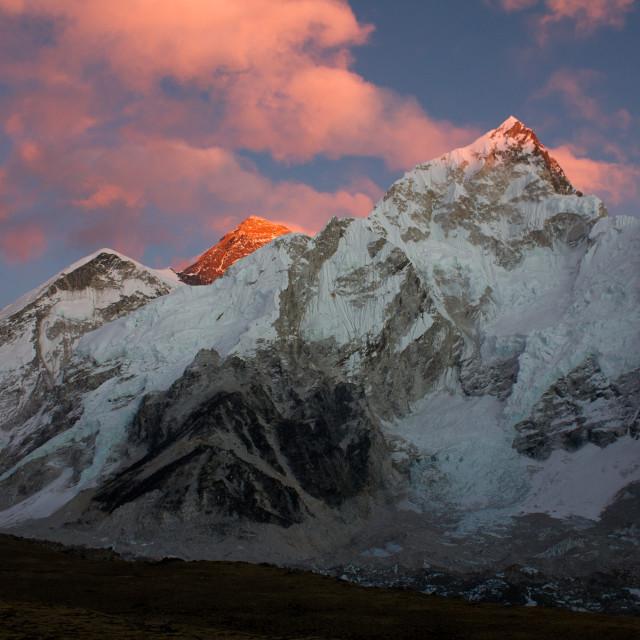 """Alpenglow on Everest"" stock image"