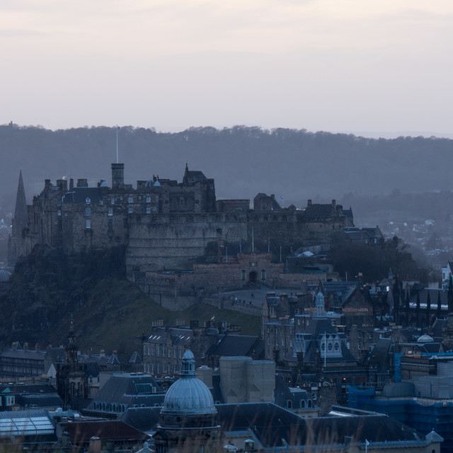 """Edinburgh Castle from Salisbury Crags dusk"" stock image"