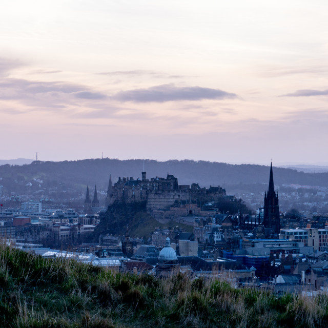 """Edinburgh Castle from Salisbury Crags dusk (Alternative View)"" stock image"