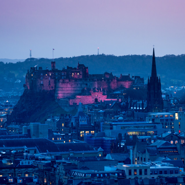 """Edinburgh Castle - in the pink"" stock image"