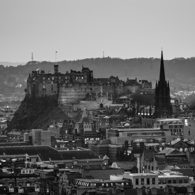 """Edinburgh Castle at dusk (Black & White)"" stock image"