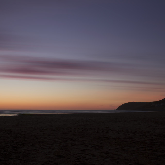 """Croyde Bay at Twilight"" stock image"