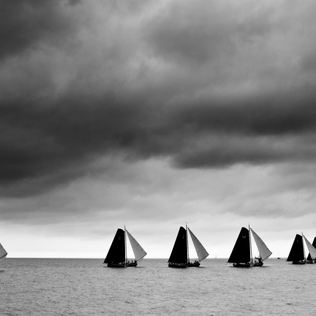 """Traditional Dutch match sailing"" stock image"