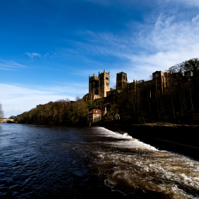 """""""Durham Cathedral, UK, seen from the river."""" stock image"""