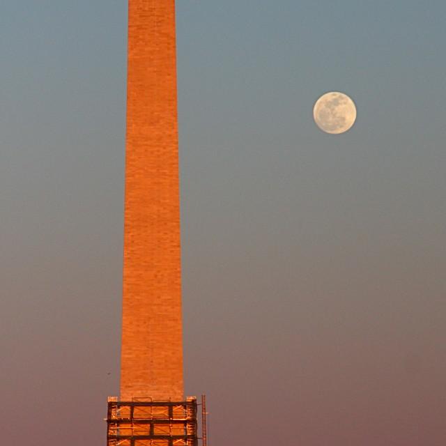 """DC moonrise at sunset"" stock image"
