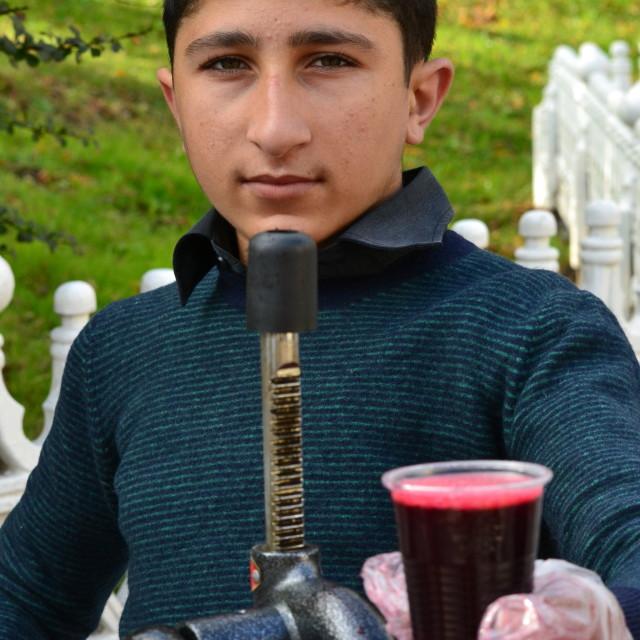 """Pomegranate Vendor, Istanbul"" stock image"