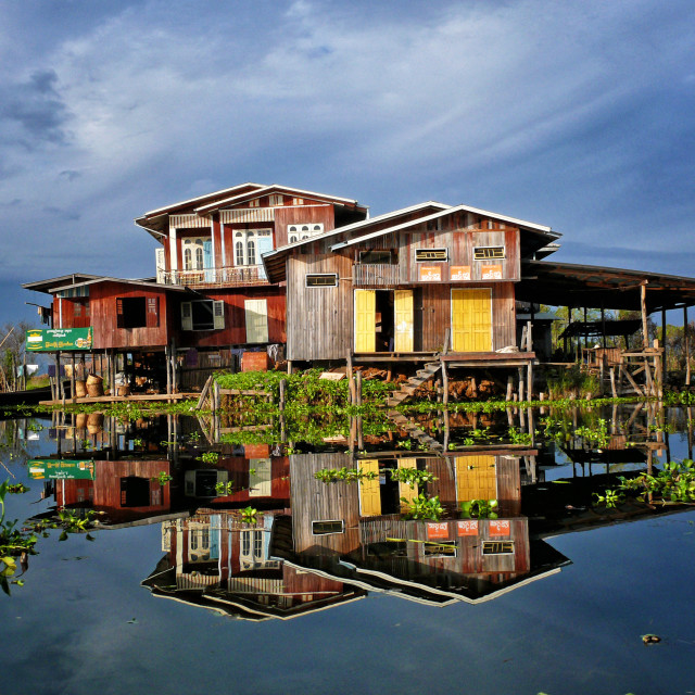"""HOUSES ON INLE LAKE"" stock image"
