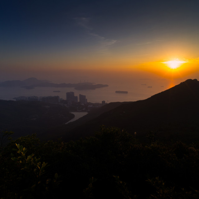"""Victoria Peak Sunset V"" stock image"