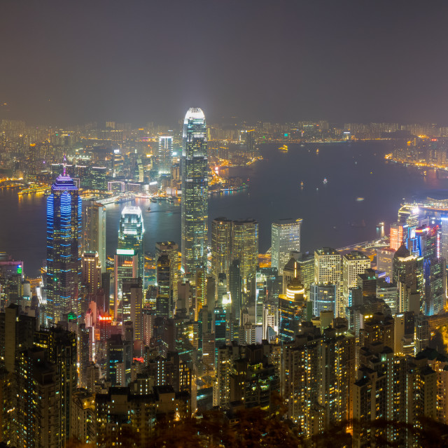 """Hong Kong At Night Panorama"" stock image"