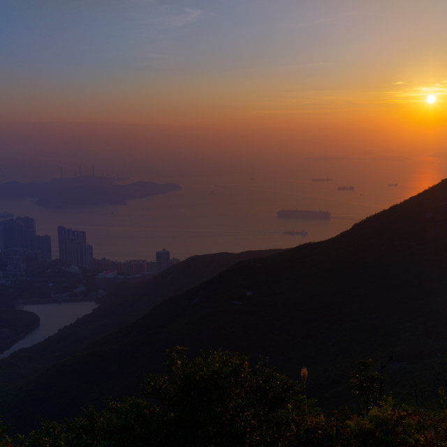 """Victoria Peak Sunset"" stock image"