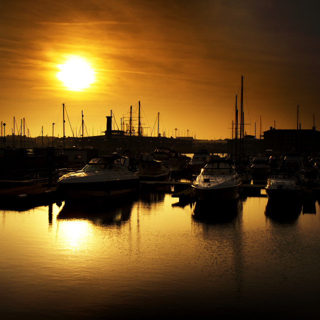 """""""Marina Sunset"""" stock image"""