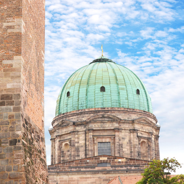 """Elisabeth Church Dome in Nuremberg, Germany"" stock image"