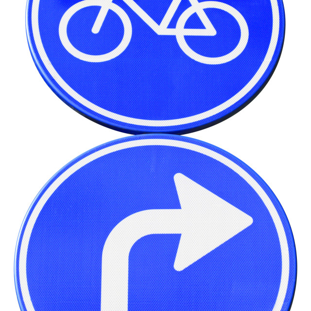 """""""Turn right for bicycles"""" stock image"""