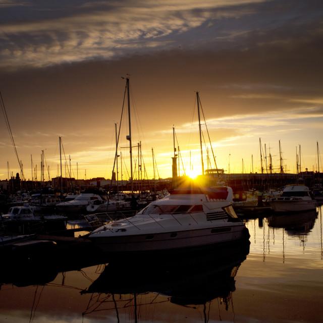"""""""Marina Sunset (upright)"""" stock image"""