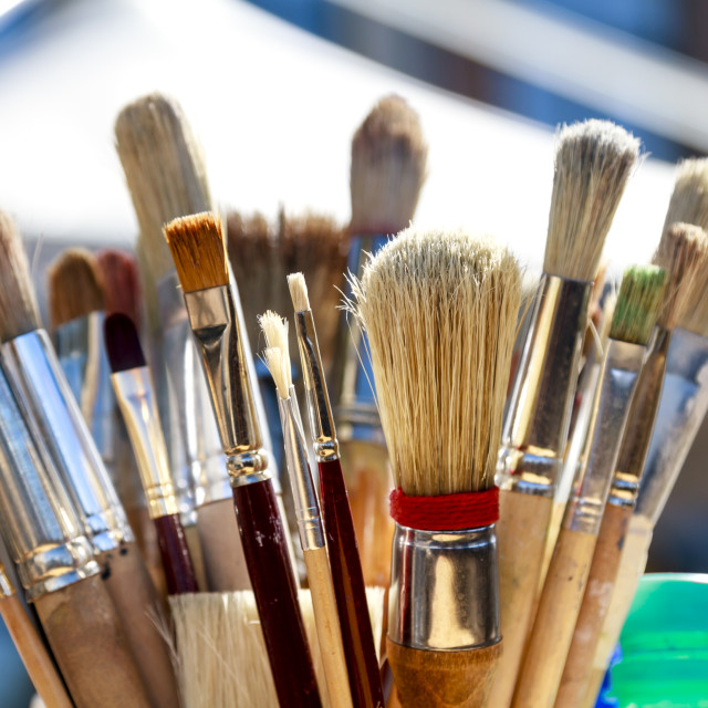 """Various paintbrushes"" stock image"