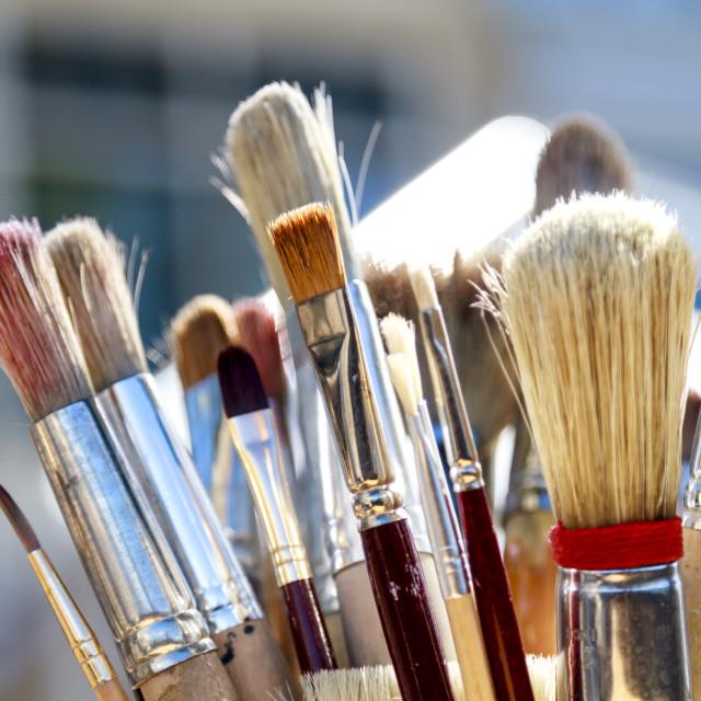 """""""Soiled paintbrushes"""" stock image"""