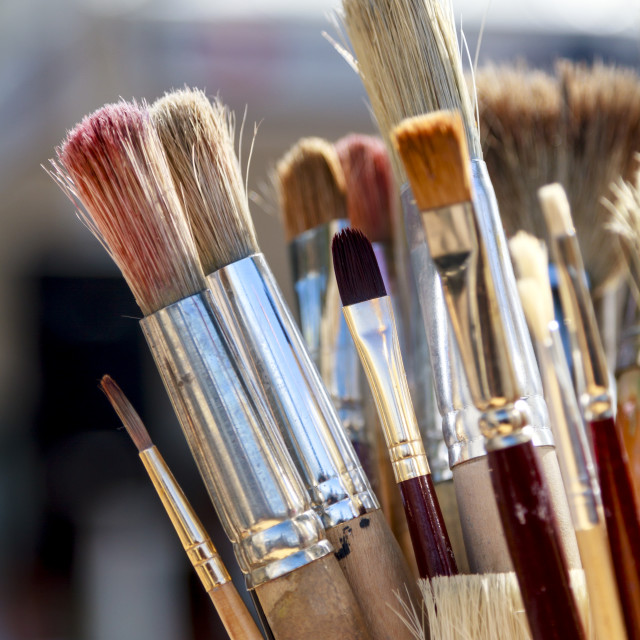 """""""Paintbrushes standing"""" stock image"""