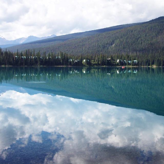 """Emerald Lake - Hill reflection"" stock image"