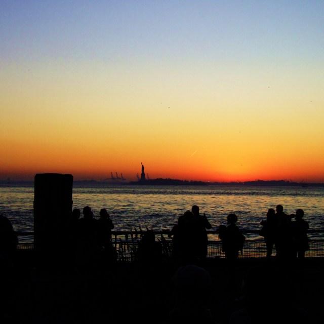 """Sunset over Liberty"" stock image"