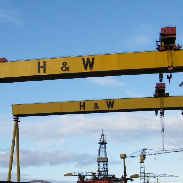 """Harland and Wolff cranes"" stock image"