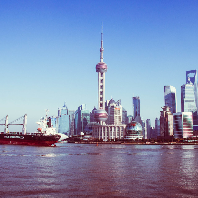 """Barging By Shanghai"" stock image"