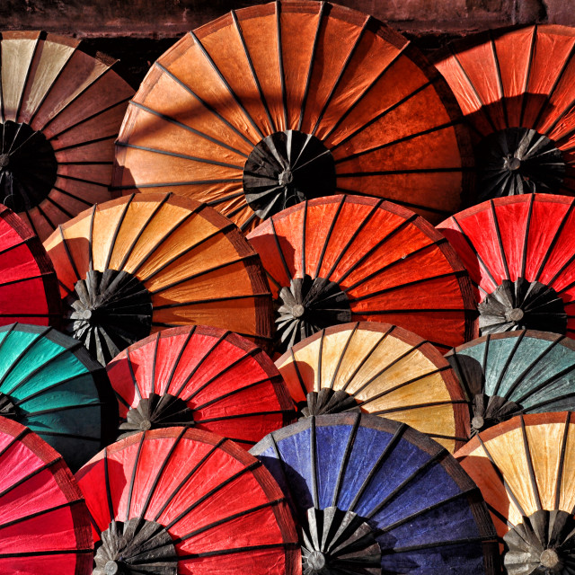 """LAOTIAN UMBRELLAS"" stock image"